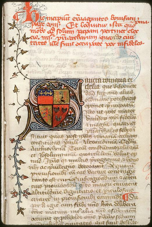 Recueil de droit canon - Armes d'Etienne de Conty_0