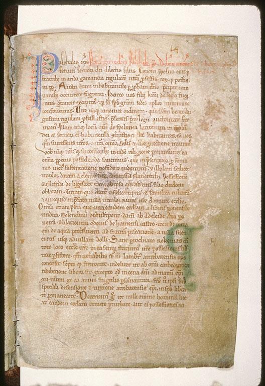 Cartulaire de l'abbaye Saint-Nicolas d'Arrouaise - Initiale de couleur ornée_0