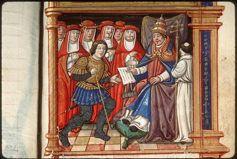 Cartulaire des frères de la Charité Notre-Dame, à Boucheraumont - Boniface VIII remettant une bulle_0