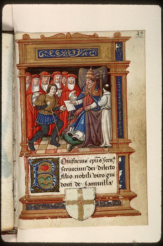 Cartulaire des frères de la Charité Notre-Dame, à Boucheraumont - Page décorée, avec armes (à identifier)_0