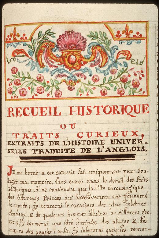 Recueil historique et littéraire