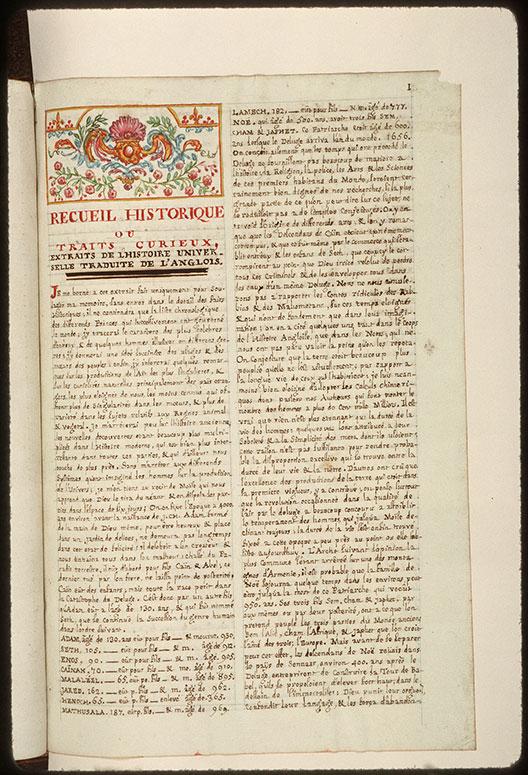 Recueil historique et littéraire - Bandeau orné_0