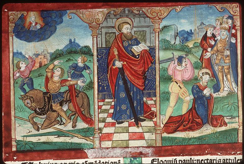 Comment. in Epistulas Pauli - Page décorée, avec armes d'Antoine de Rocourt_0