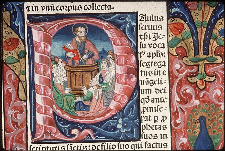 Comment. in Epistulas Pauli - Page décorée, avec armes (à identifier)_0