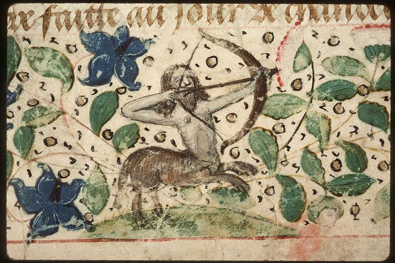 Registre des maîtres de la confrérie Notre-Dame du Puy d'Amiens - Centaure chassant un paon_0