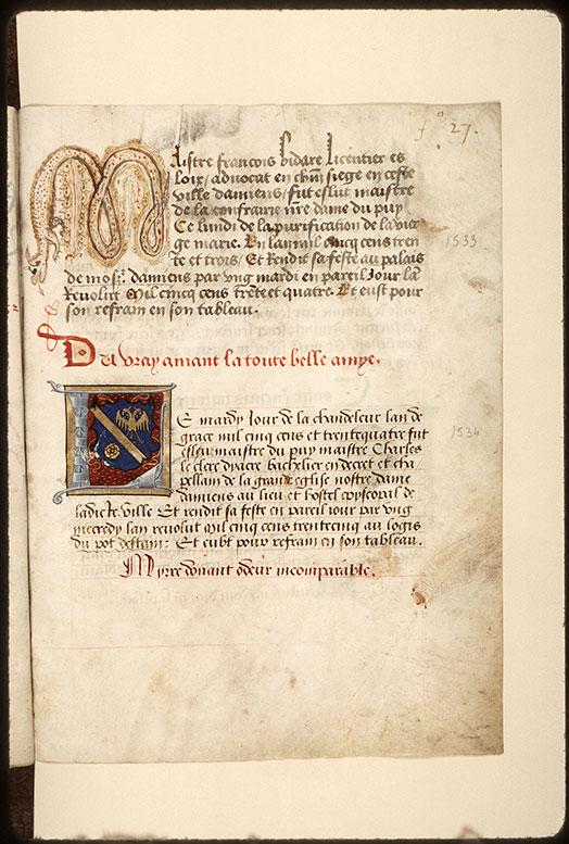 Registre des maîtres de la confrérie Notre-Dame du Puy d'Amiens - Hybride zoomorphe_0