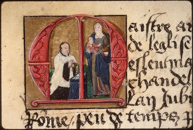 Registre des maîtres de la confrérie Notre-Dame du Puy d'Amiens - Antoine Lemaire priant la Vierge à l'Enfant_0