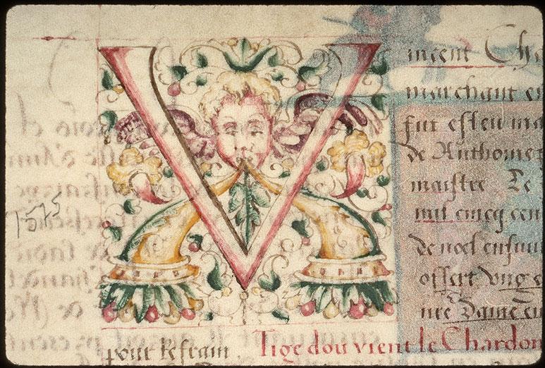 Registre des maîtres de la confrérie Notre-Dame du Puy d'Amiens - Initiale ornée_0