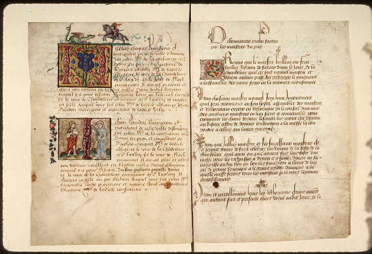 Registre des maîtres de la confrérie Notre-Dame du Puy d'Amiens - Chevalier terrassant un dragon_0