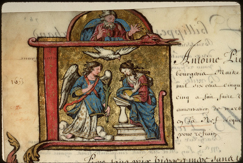 Registre des maîtres de la confrérie Notre-Dame du Puy d'Amiens - Annonciation_0