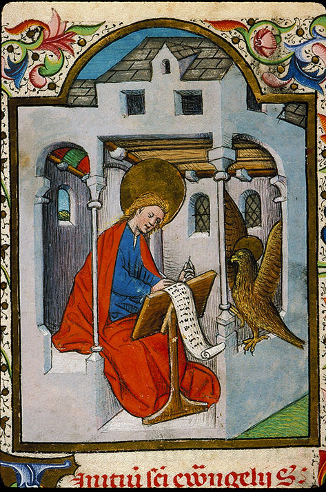 Heures à l'usage de Rome - Saint Jean écrivant et son symbole_0