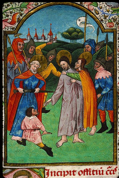 Heures à l'usage de Rome - Baiser de Judas et essorillage de Malchus_0