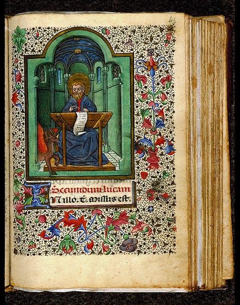 Heures à l'usage de Rome - Saint Luc écrivant et son symbole_0