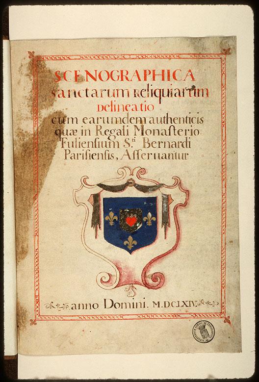 Inventaire des reliques du couvent des Feuillants de Paris - Armes du monastère royal des Feuillants à Paris_0