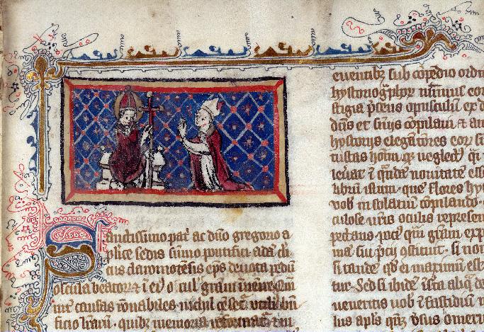 Flores historiarum - Pape bénissant un évêque_0
