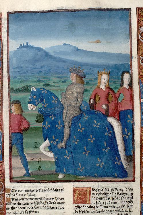 Grandes chroniques de France - Jean II le Bon et Jeanne d'Auvergne chevauchant_0