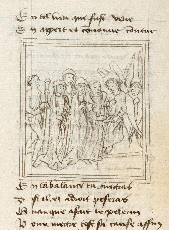 Pèlerinage de l'âme - Saint Michel demandant à Justice de peser les actions du pèlerin_0