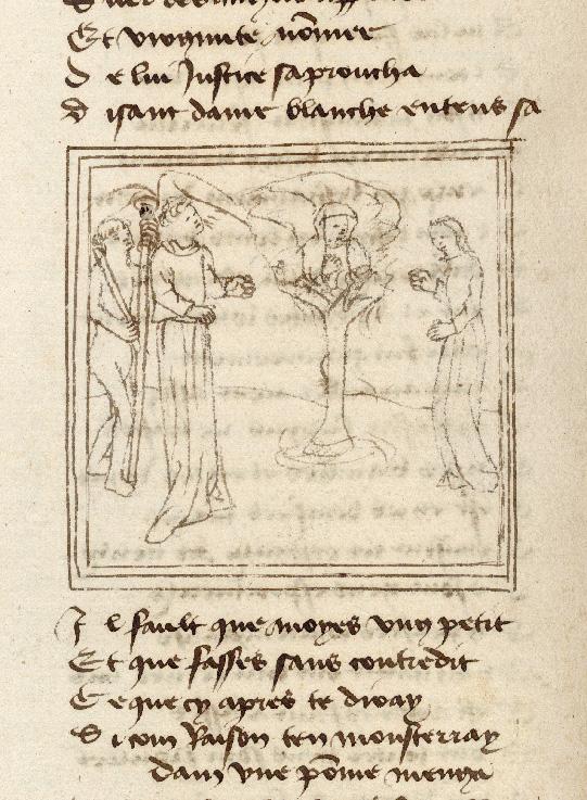 Pèlerinage de l'âme - Justice s'adressant à Virginité apparaissant dans un pommier_0