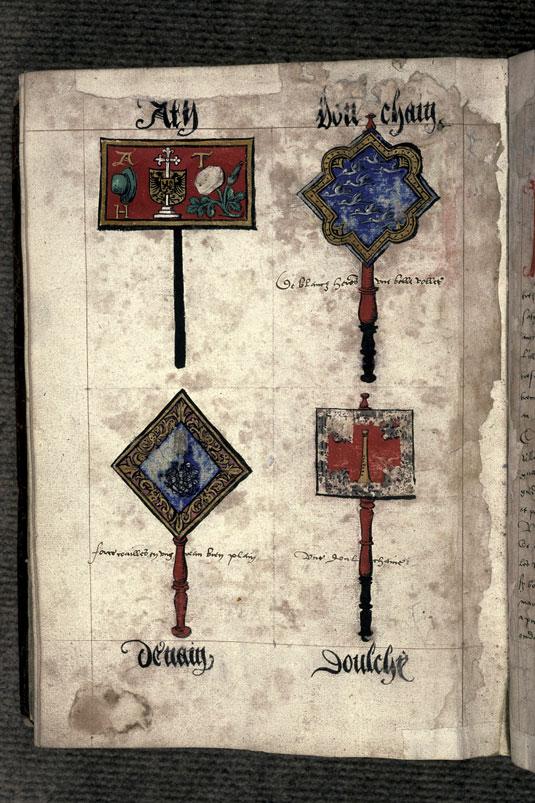 Recueil des antiquités de Valenciennes - Pancarte-rébus du prince de Douchy_0