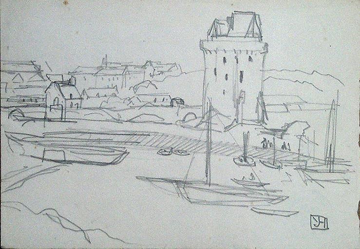 Port au pied de la tour Solidor (esquisse) ; silhouette de la tour au verso [titre attribué]_0