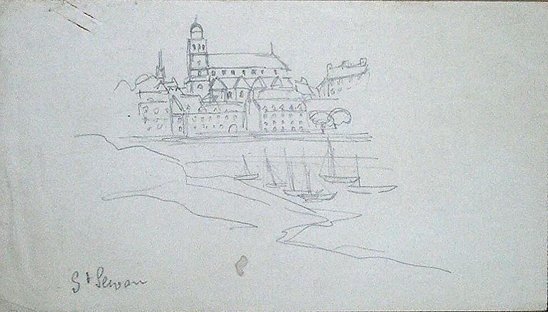 Saint Servan (croquis) ; silhouette de la tour Solidor au verso [titre attribué]_0