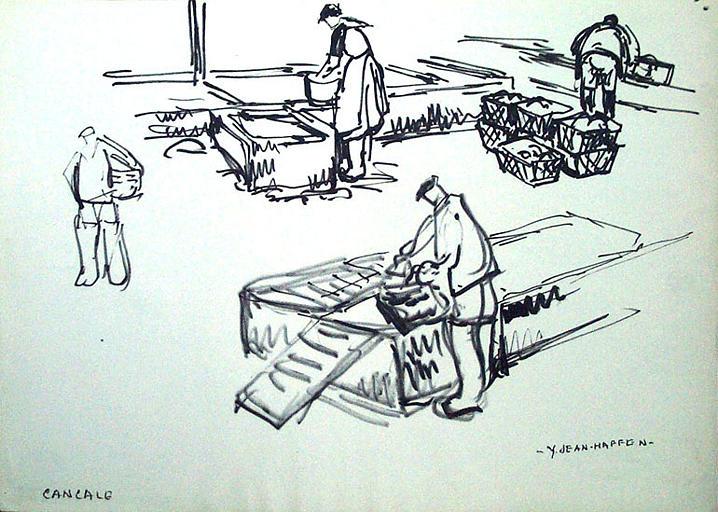 Cancale, le ramassage des huîtres (esquisse) [titre attribué]_0