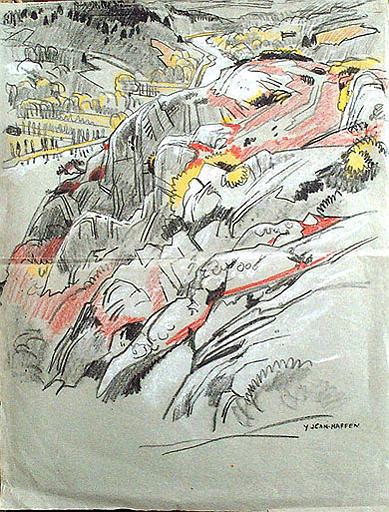 Sur les bords de la Vilaine, masse de rochers [titre attribué]_0