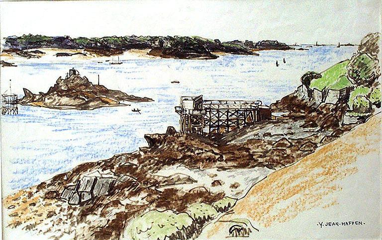 Premiers travaux du barrage de la Rance, août 1957 [titre attribué]_0