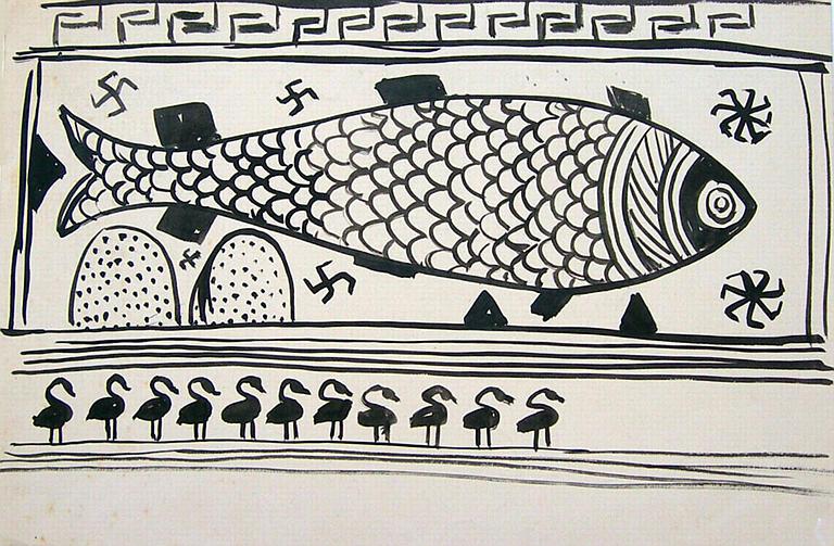 Fresque crétoise : poisson (copie d'un motif) [titre attribué]_0