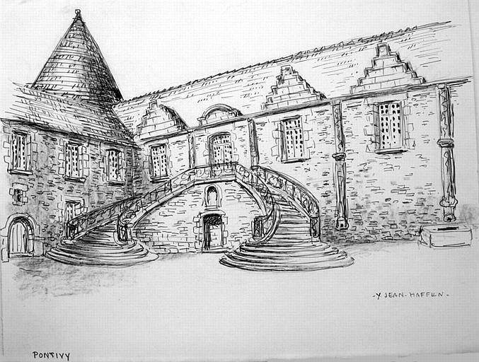 Château de Pontivy : le grand escalier [titre attribué]_0