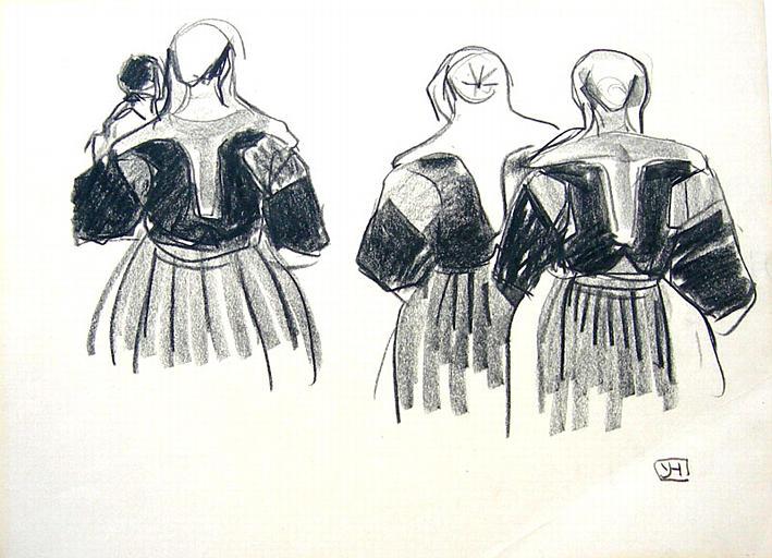 St Nicodème : costumes féminins vus de dos (étude) [titre attribué]_0