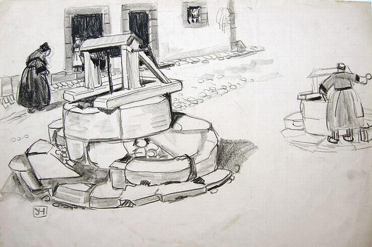 Le Faouët : le puits (étude) [titre attribué]_0