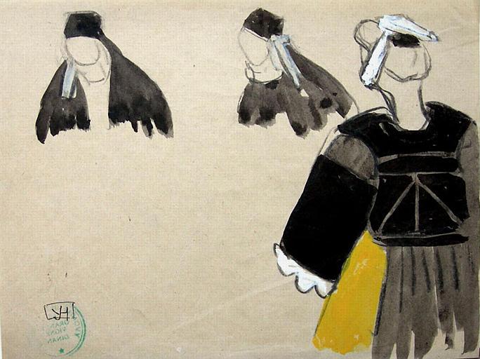 Le Faouët : Costumes féminins (étude coiffe et corsage) [titre attribué]_0