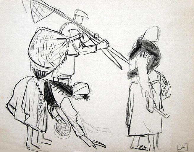 Famille de pêcheurs (étude de gestes) [titre attribué]_0