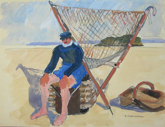Baie du Mont St Michel : pêcheur de face devant son filet [titre attribué]_0