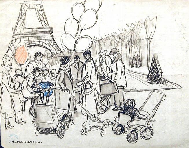 Les ballons au pied de la Tour Eiffel (esquisse) [titre attribué]_0