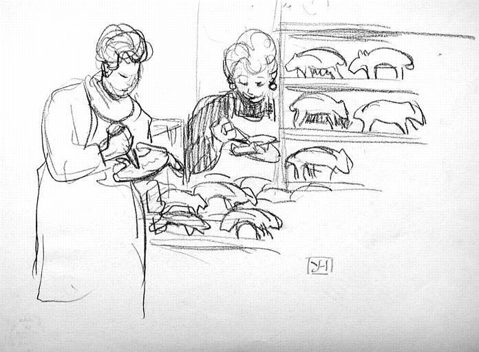 Les marchandes de petits cochons (esquisse) [titre attribué]_0