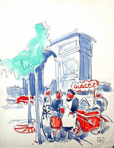 Marchande de glaces au pied de l'Arc de Triomphe [titre attribué]_0