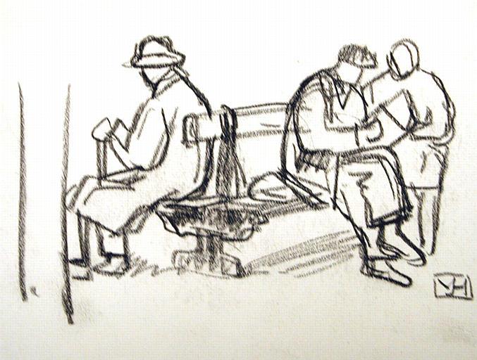 Sur un banc (esquisse) [titre attribué]_0