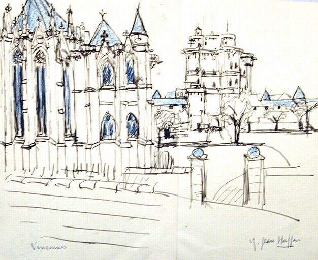 Vincennes : chapelle et Donjon (esquisse) [titre attribué]_0
