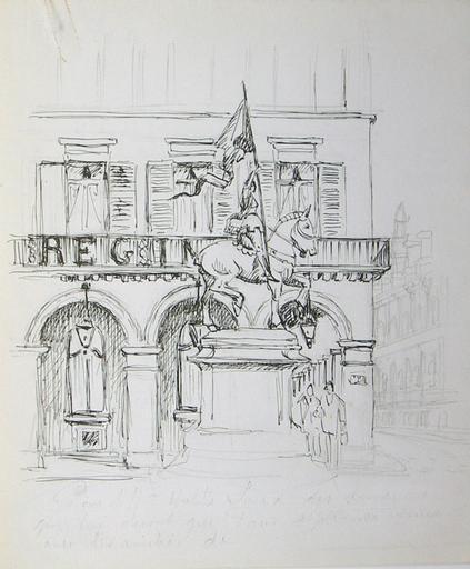 Statue de Jeanne d'Arc et le coin de la rue de Rivoli (esquisse) [titre attribué]_0