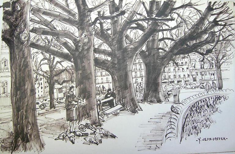 Les grands arbres du rond-point des Champs-Elysées [titre attribué]_0