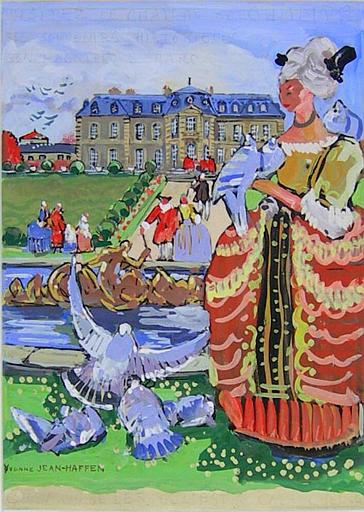 Marquise et tourterelles à Champs (projet pour une affiche) [titre attribué]_0
