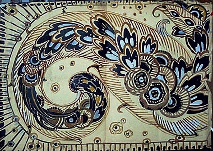 Arabesques en ocre et noir (projet) [titre attribué]_0