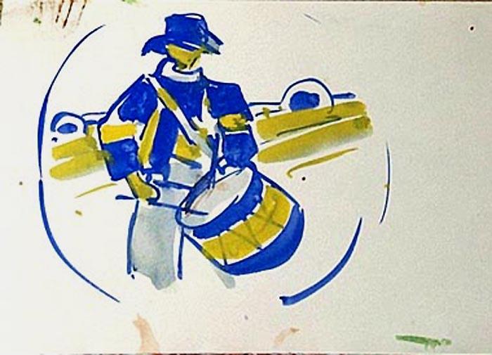 Le tambour en bleu et jaune (projet) [titre attribué]_0