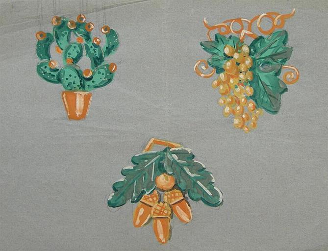 Trois motifs végétaux pour pendentifs [titre attribué]_0