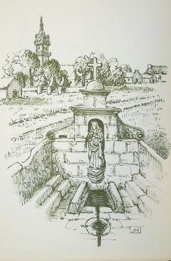 Fontaine N. D. de Berven et le hameau [titre attribué]_0