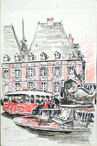 1956 : La place ducale à Charleville [titre attribué]_0