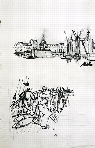 Thoniers devant Concarneau (esquisse) [titre attribué]_0
