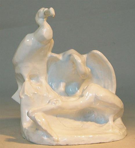Trois cormorans sur un rocher [titre attribué]